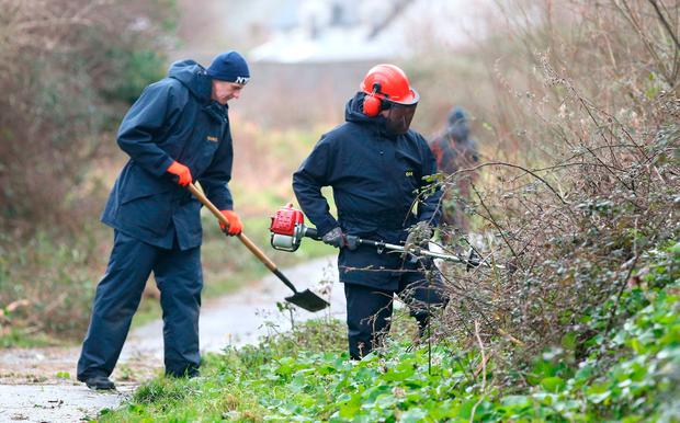 Gardai search in the Dodder Riverbank park in Firhouse for a weapon involved in Patricia O'Connor's killing last year. Photo: Damien Eagers