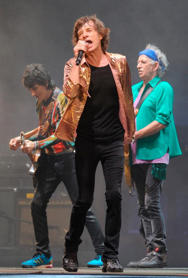Rock legends Mick Jagger (centre), Keith Richards (right) and Ronnie Wood (left) could be rolling into Ireland this year. Picture: PA
