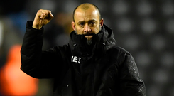 Wolves manager Nuno Espirito Santo celebrates. Photo: Getty Images