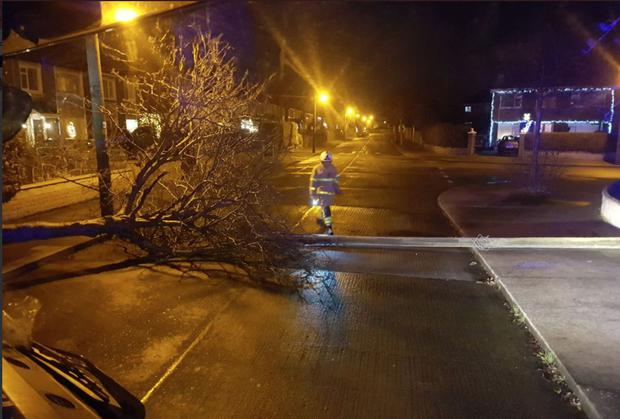 Alden Road, Bayside blocked due to tree/electricity lines down. A fire engine from Kilbarrack on scene (Dublin Fire Brigade Twitter). DFB said the storm period was 'busier than Storm Ophelia'