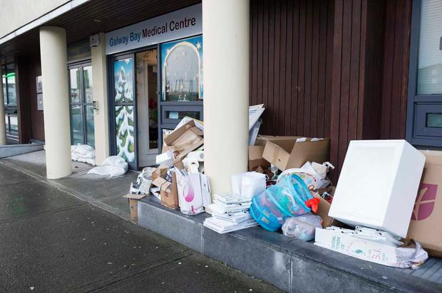 Emergency supplies outside Galway Medical Centre. Photo: Andrew Downes