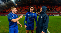 26 December 2017; Leinster's Jordan Larmour, left, James Lowe, centre, and Jamison Gibson-Park following the Guinness PRO14 Round 11 match between Munster and Leinster at Thomond Park in Limerick. Photo by Ramsey Cardy/Sportsfile