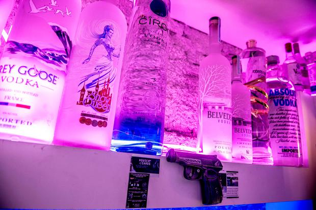 Empty space on the shelf marks the spot after the world's most expensive bottle of vodka, valued at US dlrs 1.3 million (1.08m), was stolen from the Cafe 33 bar in copenhagen, Denmark (Mads Claus Rasmussen/Ritzau Scanpix via AP)