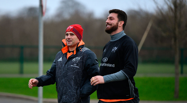 CJ Stander and Jean Kleyn walk out for training at the University of Limerick yesterday. Photo: Diarmuid Greene/Sportsfile