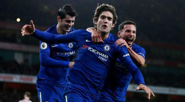 Marcos Alonso thought he had won the game with a late strike, but Arsenal struck back