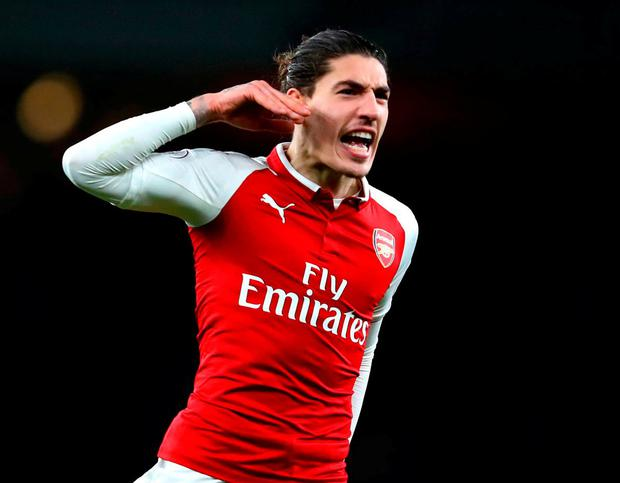 Arsenal's Hector Bellerin celebrates after scoring his sides second goal. Photo: Julian Finney/Getty Images