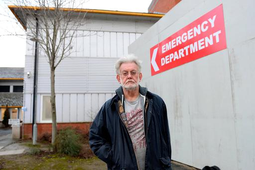 Stephen Bathe, from Ranelagh, at the A&E in St James's Hospital, where his mother is being treated. Photo: Caroline Quinn