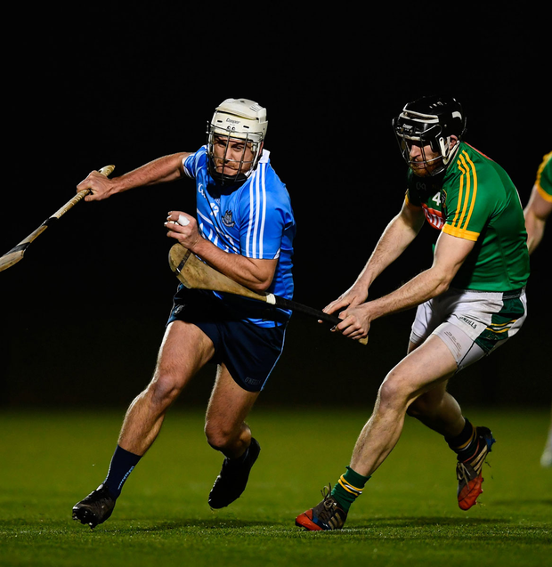 Alan Moore of Dublin (left) in action against Shane Brennan of Meath during the Walsh Cup match at Abbotstown. Photo: Sportsfile