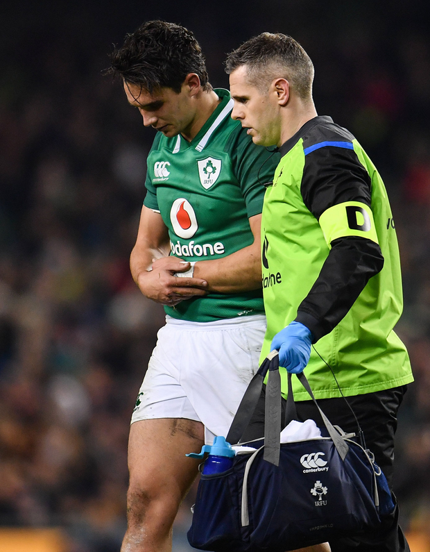 Ireland's Joey Carbery injures his arm last November. Photo: Sportsfile