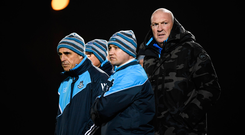 New Dublin boss Pat Gilroy, right, with selector Anthony Cunningham, left, and goalkeeping coach Brendan McLoughlin during last night's Bord na Mona Walsh Cup match against Meath. Photo: Stephen McCarthy/Sportsfile