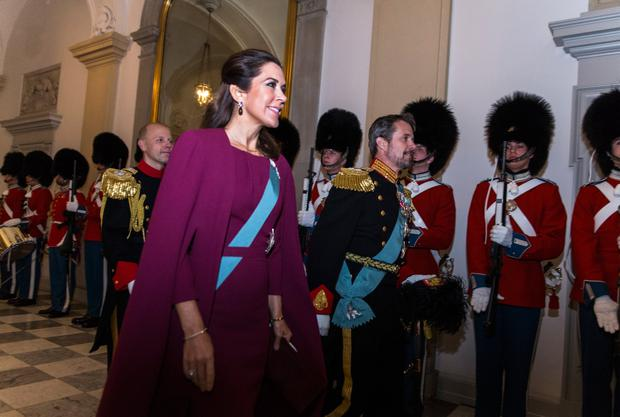 Crown Prince Frederik and Crown Princess Mary of Denmark arrive at the Traditional New Year's Banquet for foreign diplomats hosted by Queen Margrethe of Denmark at Christiansborg Palace on January 3, 2018 in Copenhagen, Denmark. (Photo by Ole Jensen - Corbis/Corbis via Getty Images)