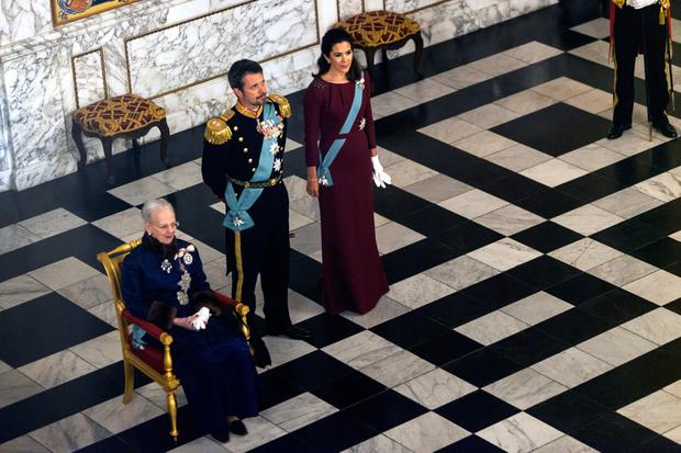 Queen Margrethe of Denmark (L), Crown Prince Frederik and Crown Princess Mary during the Queen's Traditional New Year's Banquet for foreign diplomats hosted by the Queen at Christiansborg Palace on January 3, 2018 in Copenhagen, Denmark. (Photo by Ole Jensen - Corbis/Corbis via Getty Images)