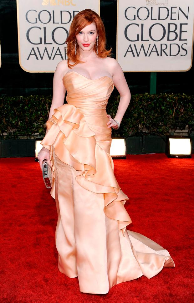 Actress Christina Hendricks arrives at the 67th Annual Golden Globe Awards held at The Beverly Hilton Hotel on January 17, 2010 in Beverly Hills, California. (Photo by Frazer Harrison/Getty Images)