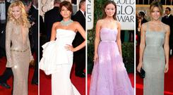 (L to r) Kate Hudson, Eva Mendes, Olivia Wilde and Jessica Biel at the Golden Globes through the years