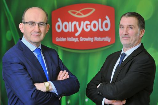Newly elected Chairman John O'Gorman with Dairygold CEO Jim Woulfe. Pic Daragh Mc Sweeney/Provision
