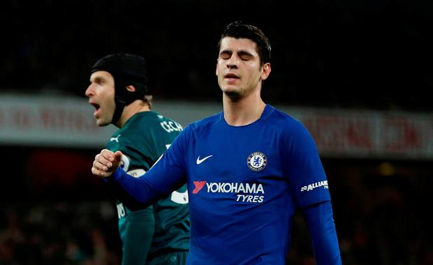 Chelsea's Alvaro Morata reacts after a missed chance as Arsenal's Petr Cech looks on