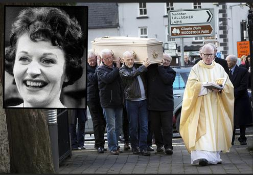 The coffin of actress Doreen Keogh (inset) is carried into St. Colmcille's Church, Inistioge, Co. Kilkenny