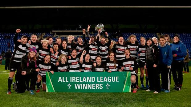 Old Belvedere's women's team who won the All-Ireland League in 2014. Photo: ©INPHO/Donall Farmer