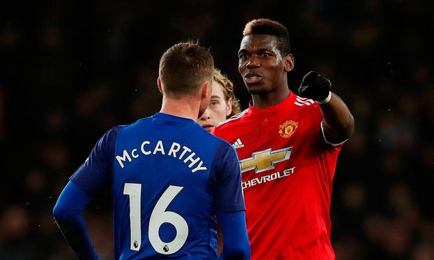 James McCarthy getting in the face of Paul Pogba during his brief appearance at Goodison Park against Manchester United. Photo: Lee Smith/Reuters