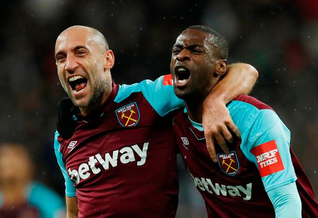 West Ham's Pedro Obiang celebrates scoring his goal with Pablo Zabaleta. Pic: Reuters