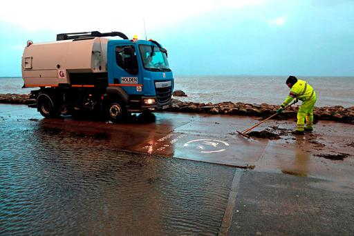 Seaweed is cleared from the Salthill Promenade, Galway, after Storm Eleanor's passage. Picture: PA