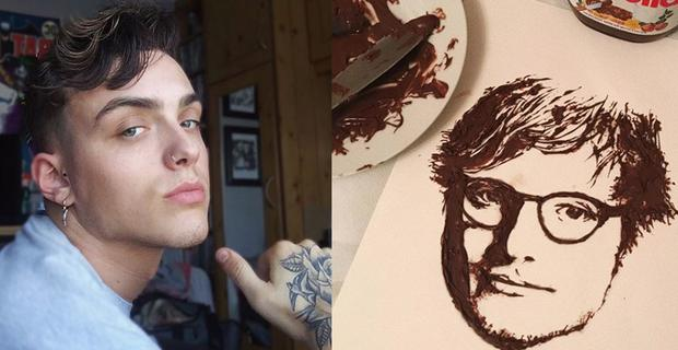MIke Gibson and his Nutella portrait of Ed Sheeran