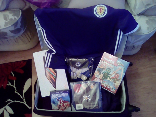 Suitcase full of presents