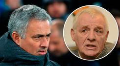 Eamon Dunphy (inset) believes Jose Mourinho faces an uphill battle to win over Manchester United fans