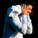 Rory McIlroy reacts after his second shot on the 16th hole during day two of the British Masters at Close House Golf Club last September in Newcastle upon Tyne. Photo: Ross Kinnaird/Getty Images
