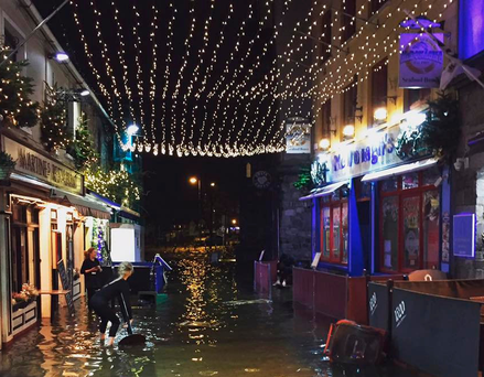 Flooding scenes in Galway