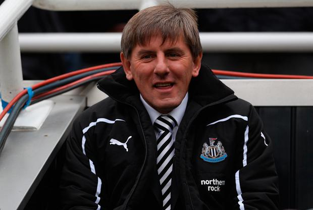 NEWCASTLE UPON TYNE, ENGLAND - OCTOBER 31: Newcastle United reserve coach Peter Beardsley looks on before the Barclays Premier League match between Newcastle United and Sunderland at St James' Park on October 31, 2010 in Newcastle upon Tyne, England. (Photo by Stu Forster/Getty Images)