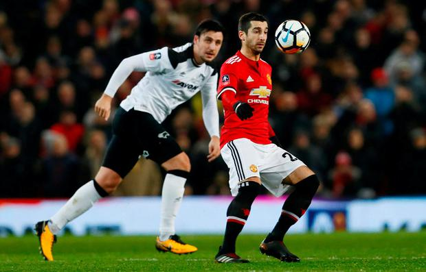 Manchester United's Henrikh Mkhitaryan in action last night