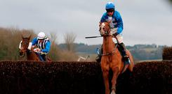 Raz De Maree ridden by James Bowen on their way to victory in the Coral Welsh Grand National Handicap Chase during Coral Welsh Grand National Day at Chepstow