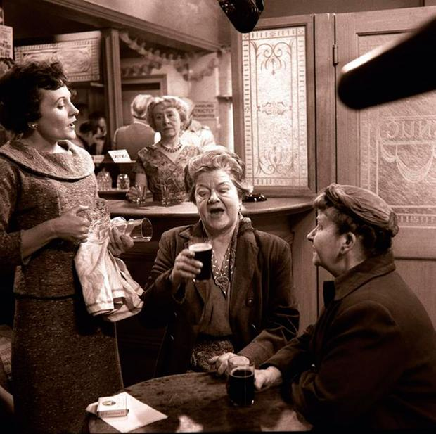 An early episode of 'Coronation Street' with Doreen Keogh as Concepta, Doris Speed as Annie Walker and Violet Carson as Ena Sharples