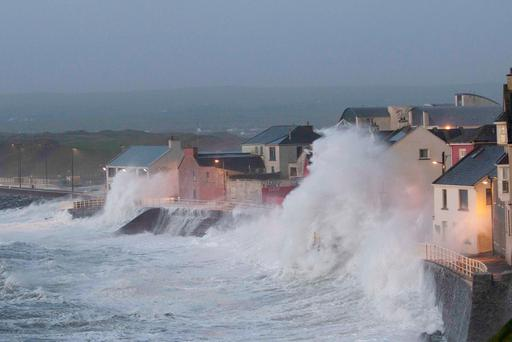 Gathering power: Storm Eleanor flexes its muscles at Lahinch, Co Clare. Engineers are developing new ways to limit the impact of such storms and flooding. Photo: Press 22