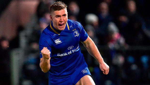 Jordan Larmour of Leinster celebrates after scoring his side's first try during the Guinness PRO14 Round 13 match between Leinster and Ulster at the RDS Arena in Dublin. Photo by Seb Daly/Sportsfile
