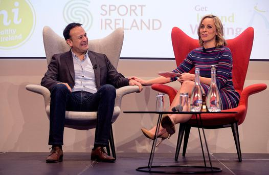 The gentle touch: Taoiseach Leo Varadkar and presenter Kathryn Thomas at the launch of 2018 Healthy Ireland Campaign with Operation Transformation. Photo: Fergal Phillips