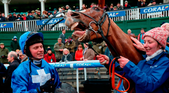 James Bowen with Raz De Maree after their victory in the Coral Welsh Grand National. Photo: David Davies/PA