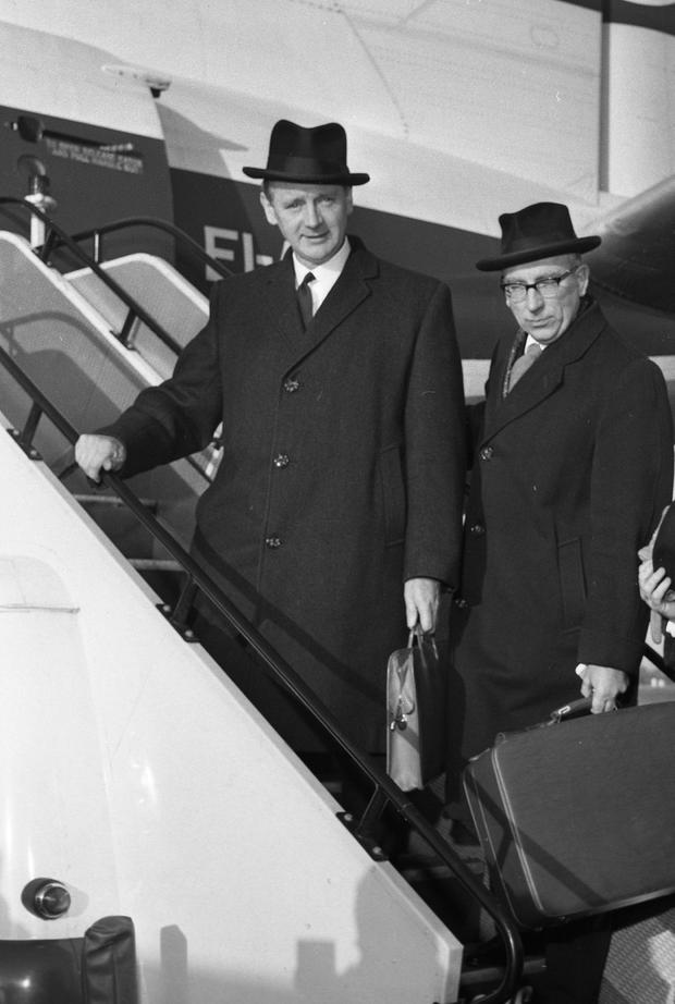 LONDON CALLING: Whitaker and then Taoiseach Jack Lynch leave for talks with British Prime Minister Harold Wilson