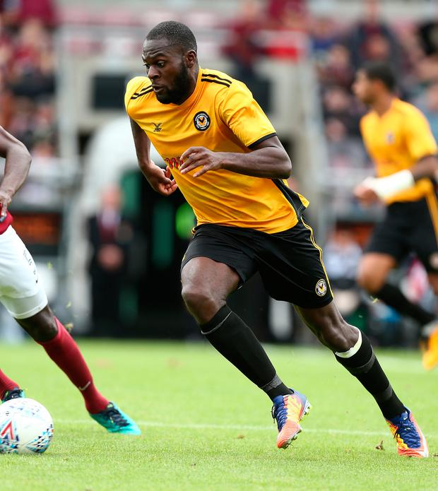 Frank Nouble of Newport County in action Photo: Getty