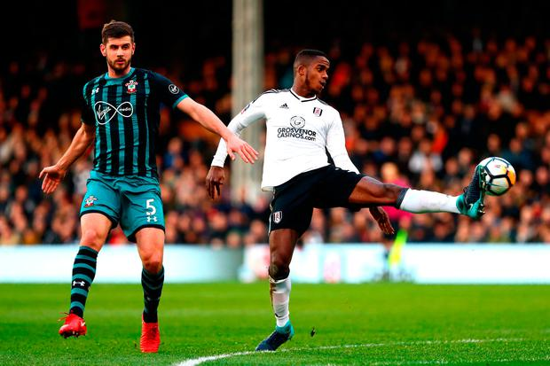 Ryan Sessegnon of Fulham controls the ball under pressure from Jack Stephens Photo: Getty