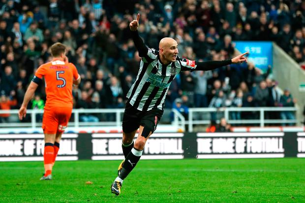 Jonjo Shelvey of Newcastle United celebrates scoring his team's third goal Photo: Getty