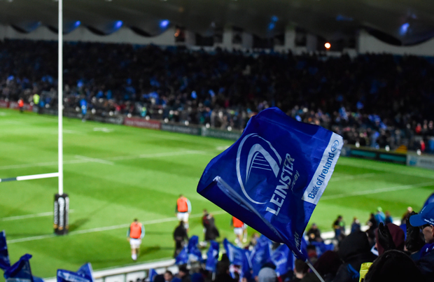 6 January 2018; A general view of supporters' flags during the Guinness PRO14 Round 13 match between Leinster and Ulster at the RDS Arena in Dublin. Photo by Seb Daly/Sportsfile
