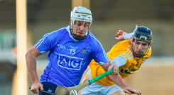 7 January 2018; Alan Moore of Dublin in action against David Kearney of Antrim during the Bord na Mona Walsh Cup Group 2 Third Round match between Dublin and Antrim at Parnell Park in Dublin. Photo by David Fitzgerald/Sportsfile