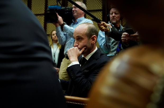 Senior adviser Stephen Miller listens as U.S. President Donald Trump meets with Republican members of the Senate about immigration at the White House in Washington, U.S., January 4, 2018