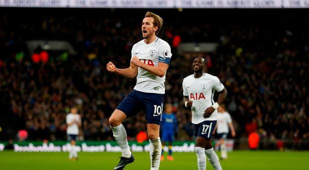 Tottenham's Harry Kane celebrates scoring their second goal