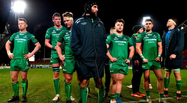 Connacht captain John Muldoon and team-mates after their defeat to Munster at Thomond Park. Photo: Diarmuid Greene/Sportsfile