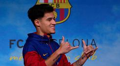 FC Barcelona's new signing Philippe Coutinho during the presentation. REUTERS/Albert Gea