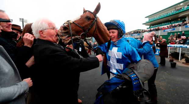 James Bowen with Raz De Maree after their victory in the Coral Welsh Grand National Handicap Chase. Photo credit: David Davies/PA Wire.