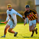 Martin Fitzgerald of Kildare in action against Conor Delaney of Kilkenny. Photo by Ray McManus/Sportsfile